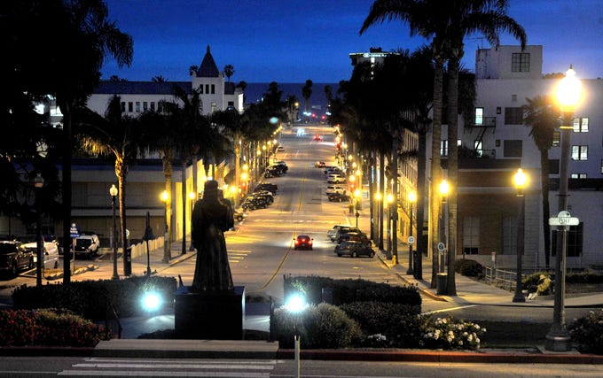 Downtown Ventura, normally filled with people on weekend nights, was quiet Saturday, April 4, 2020.