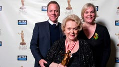 Shirley Douglas poses with her children, Kiefer Sutherland and Rachel Sutherland. Douglas died on Sunday.