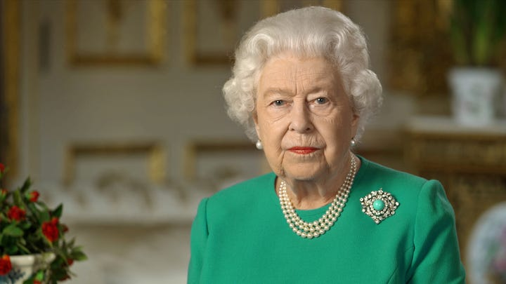 In this handout photo provided by Buckingham Palace, Queen Elizabeth II addresses the nation in a special broadcast to the United Kingdom and the Commonwealth in relation to the Coronavirus outbreak at Windsor Castle on April 5, 2020 in London, England.