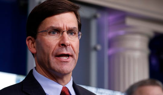 Defense Secretary Mark Esper speaks about the coronavirus in the James Brady Press Briefing Room of the White House, April 1, 2020, in Washington.