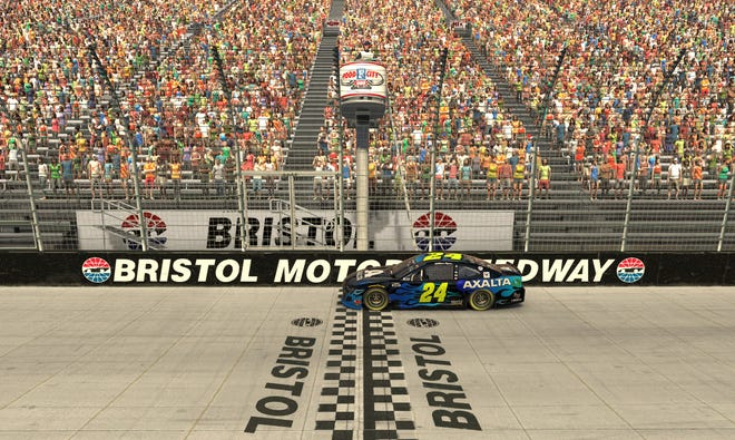 In this computer generated in-game image, William Byron, takes the checkered flag at virtual Bristol Motor Speedway.