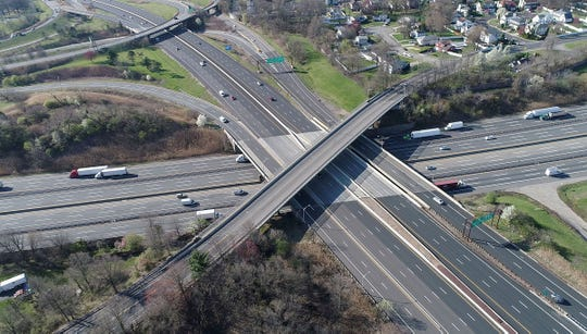 Light traffic moves along the Garden State Parkway and New Jersey Turnpike in Woodbridge shortly after 9 am Monday morning, April 6, 2020.