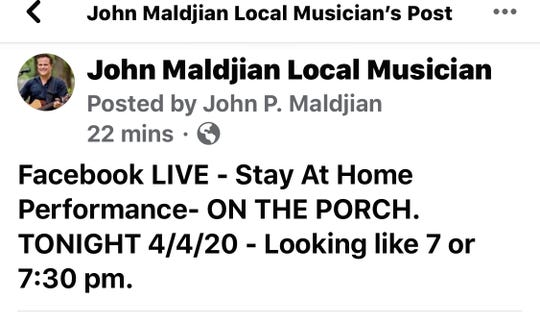 A photo of John Maldjian Facebook post prior to a Rumson concert that got broken up by police.