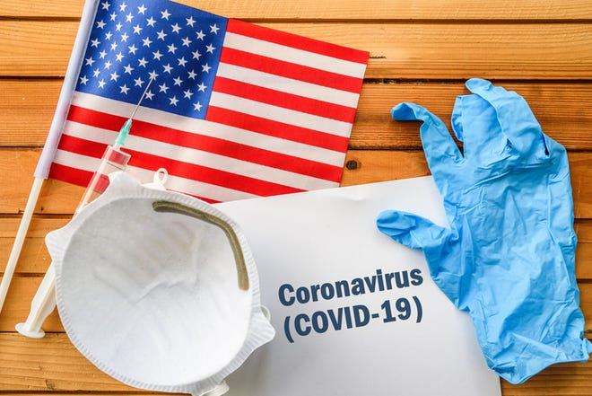 Flag of United States,, vaccine, face mask for virus, glove and paper sheet with words Coronavirus COVID-19
