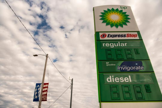 BP Express Stop, on the corner of Capital Ave. and Dickman Rd., sells gas for 1.94 per gallon on Monday, April 6, 2020 in Battle Creek, Mich. Across the country, gas prices are plummeting as states enforce stay-at-home orders to slow the spread of COVID-19.
