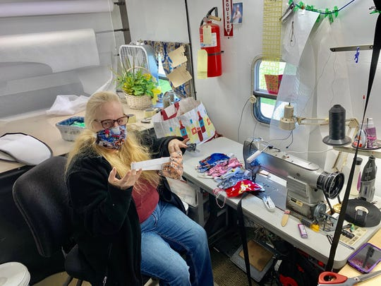 Bonnie Wagner, a stitcher at Access Unlimited, has been creating fabric face masks to be donated to health care workers.