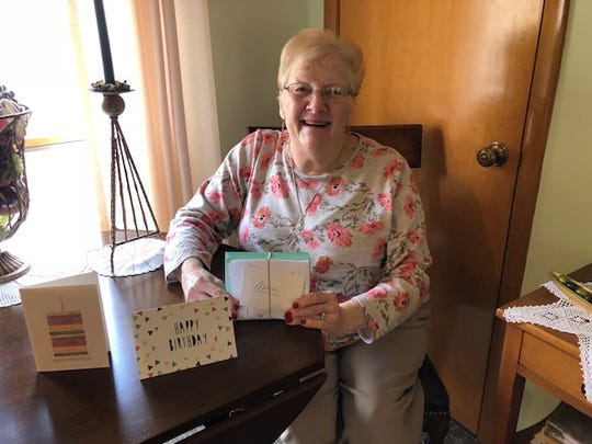 Suzann Strauss worked on April and May Birthday cards for Mercy House of the Southern Tier volunteers. She's been a receptionist and a caregiver at Mercy House since August 2017.