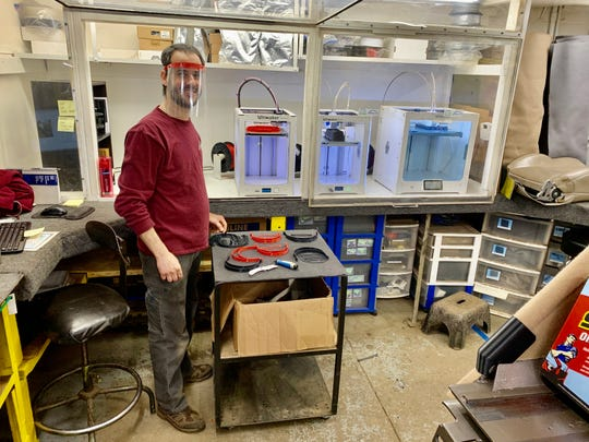 Access Unlimited engineer Ricardo Morais has been donating his time to create shields for local health care professionals using the company's 3D printers.