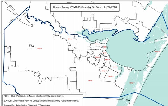 Health Department officials provided a breakdown of Nueces County's coronavirus cases by zip code on Monday, April 6, 2020.