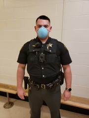 A barrier mask worn by a sheriff's deputy to prevent the spread of COVID-19 in April 2020.