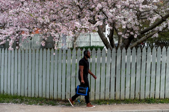 Emmanuel Mejeun, APSU's Director of Full Spectrum Learning, walks up the sidewalk to his building to print some papers from his office under a blossoming tree at Austin Peay State University in Clarksville, Tenn., on Friday, March 27, 2020.