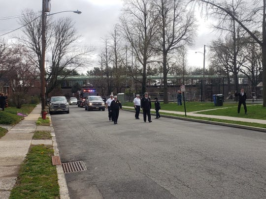 The start of the funeral procession on Park Avenue for former Woodbridge Fire Commissioner Richard Gould