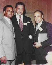 Richard E. Barber Sr., (now of Somerset,) when he took job in 1978 as deputy executive irector of National NAACP. Also pictured are Dr. Leon Sullivan, chairman and founder of the Opportunities Industrialization Centers (OIC) based in Philadelphia, PA and Dr. Benjamin L. Hooks, executive director of the National NAACP based in New York City. The photo was taken in Chicago in April 1978 at the National Leadership Conference.