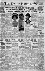 The front page from The Daily Home News of April 16, 1912.