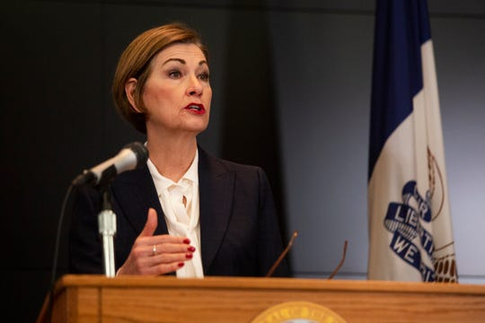Iowa Gov. Kim Reynolds holds a news conference on COVID-19 at the State Emergency Operations Center in Johnston, IA, on Monday, April 6, 2020.