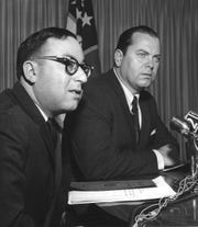 Bernard Klein (left) is photographed in 1966 with Detroit mayor Jerome Cavanagh.