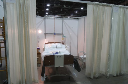 A room set up by the National Guard along with local contractors in the TCF Center to treat COVID-19 patients Monday, April 6, 2020 in Detroit.