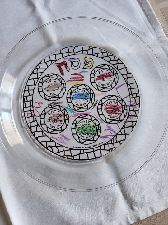 Micki Rubinstein will display her daughter Lindsay's pre-kindergarten drawings of Seder plates.