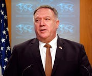 Secretary of State Mike Pompeo speaks during a news conference at the State Department in this March 25, 2020, file photo.