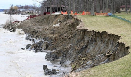 Land continues to be erode at Geneva Township Park in Geneva-on-the-Lake, Ohio, along Lake Erie, Monday March 30, 2020.
