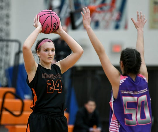 Brighton's Sophie Dziekan, left, averaged 14.8 points, 8.2 rebounds, 2.8 assists and 1.5 blocks, shooting 54% from the field.