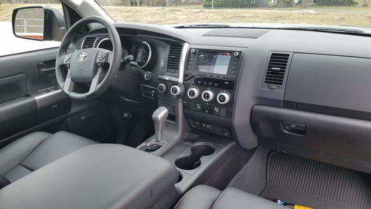 The interior of the 2020 Toyota Sequoia is dated with yards of plastic and uninspired design. Happily, the big ute comes with lots of standard features.