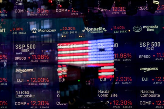 In this March 16, 2020, file photo, United States flag is reflected in the window of the Nasdaq studio, which displays indices and stocks down, in Times Square, New York.