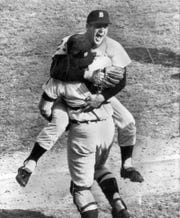 Mickey Lolich jumps into the arms of catcher Bill Freehan after the Tigers won Game 7 of the 1968 World Series.