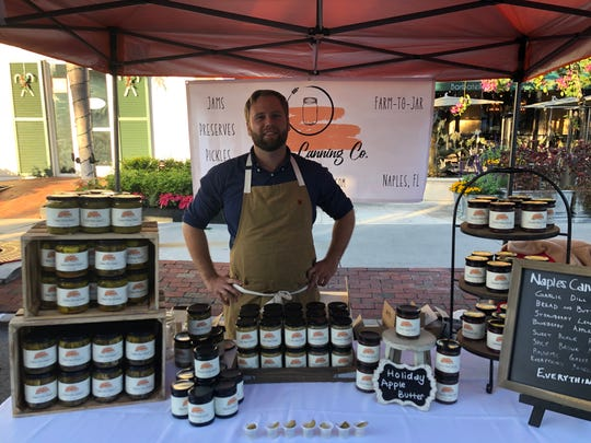 David McCone used to set up Naples Canning Co. at local farmers markets. With the COVID-19 pandemic he has shifted to delivery and shipping of his products.