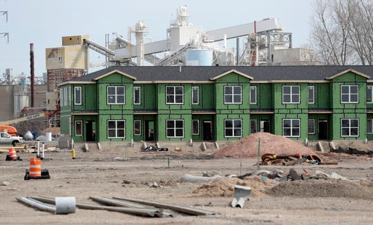 Construction continues on the Rail Yard Condominiums in downtown Green Bay.