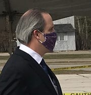 Brown County Executive Troy Streckenbach wears a face mask Monday after asking all county residents to keep their mouths and noses covered when they are outside, or are likely to come into contact with others.