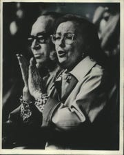 Jane Pettit and her husband, Lloyd, cheer at a Milwaukee Admirals game in 1979.