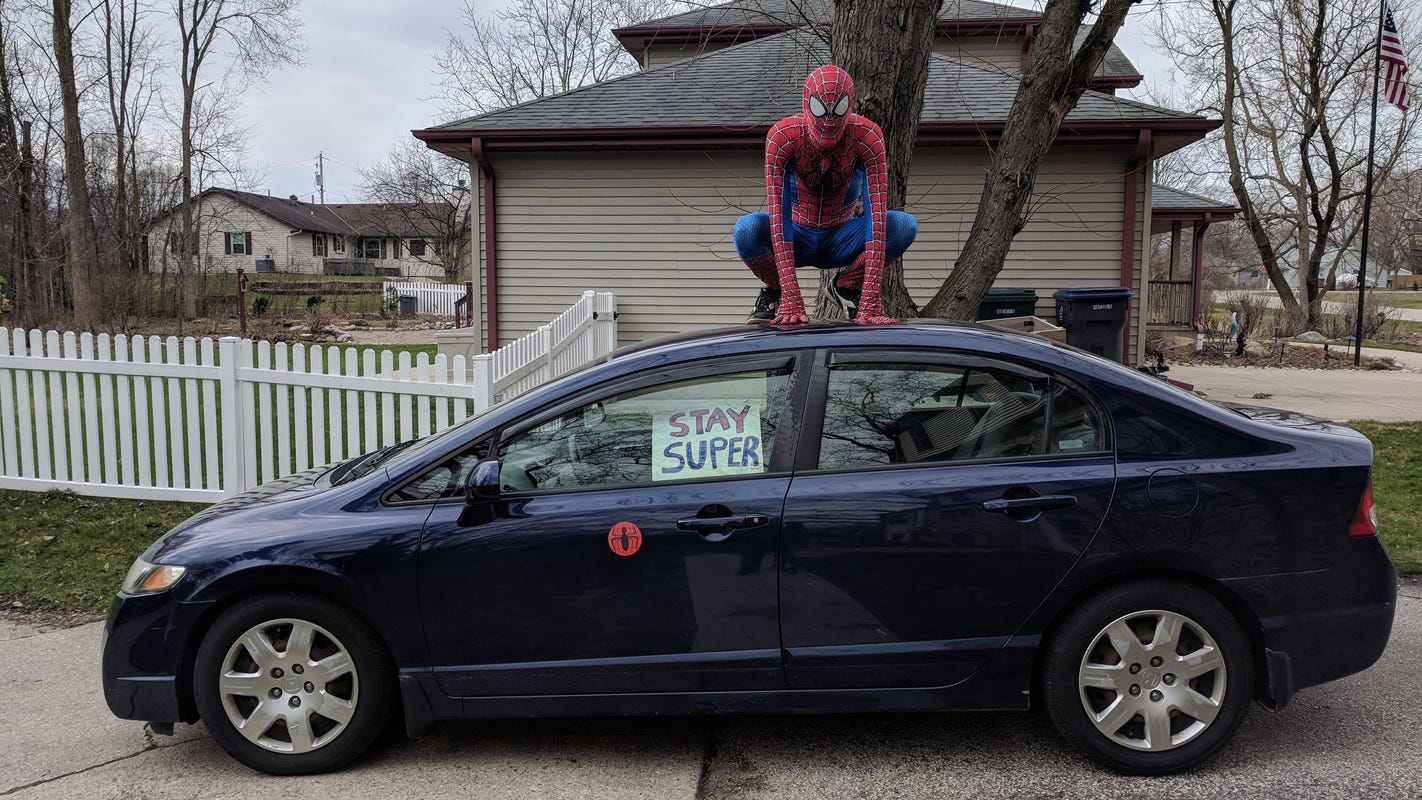 Spider-Man is roaming the streets in New Berlin to make kids smile during the coronavirus pandemic