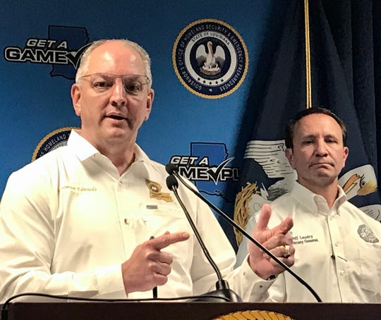 Louisiana Governor John Bel Edwards and Louisiana Attorney General Jeff Landry conduct a press conference Monday to update the public on the coronavirus crisis.