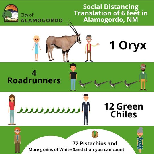 The City of Alamogordo released this image to help people remember to social distance.