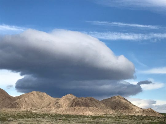 Thick clouds are visible north of Salton City Monday, April 6, 2020. They developed from a storm system that's expected to drop 1.5 inches of rain on parts of the Coachella Valley this week.