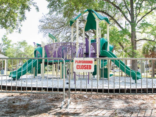City playgrounds including those at Granada Square are closed due to the coronavirus pandemic in Pensacola on Monday, April 6, 2020.