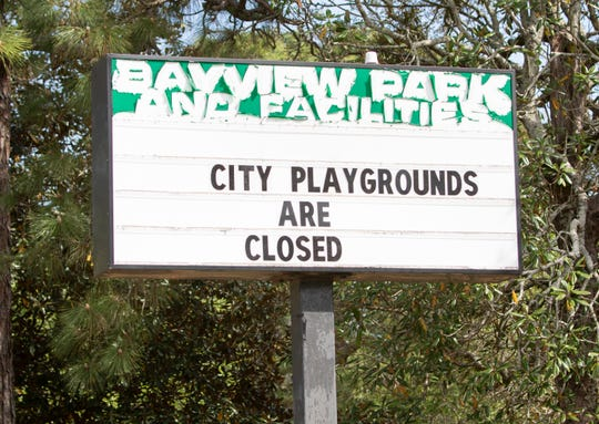 City playgrounds including those at Bayview Park are closed due to the coronavirus pandemic in Pensacola on Monday, April 6, 2020.