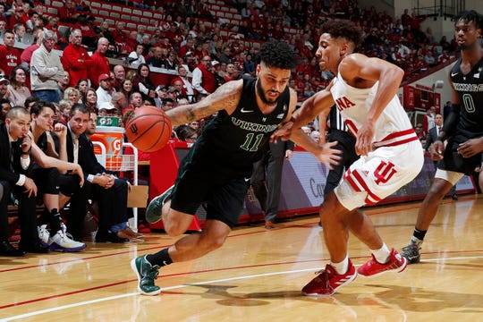 Nov 9, 2019; Bloomington, IN, USA; Portland State Vikings guard Holland Woods (11) drives to the basket against Indiana Hoosiers guard Rob Phinisee (10) during the second half at Simon Skjodt Assembly Hall. Mandatory Credit: Brian Spurlock-USA TODAY Sports