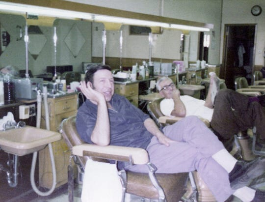 Joe Ruffino Owner Of Wagon Wheel Barber Shop In Chair 1 With Arthur Lefty Salazar In Chair 2 1970s.