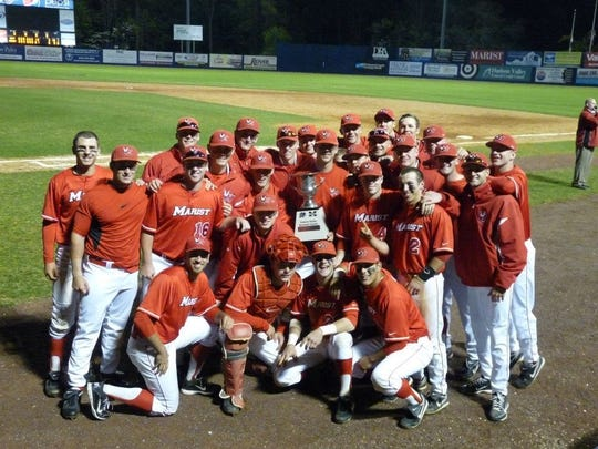 The Marist College baseball team poses at Dutchess Stadium in 2012 after winning the Hudson Valley Classic. Ben Luderer, number 16, died of complications from coronavirus.