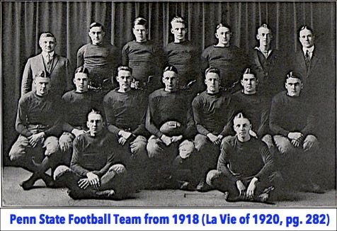 The photo shows the 1918 Penn State Varsity Football Team, as it appears on page 282 of the 1920 La Vie; the Penn State Yearbook. From left to right, seated on the floor are: Right halfback Killinger and Left halfback Lundberg. Seated on the bench are: Right end C. W. Brown, Right tackle Henry, Right guard I. W. Brown, Fullback Unger, Quarterback Williams, Left guard Logue, and Left tackle Hays. Standing are: Head coach Hugo Bezdek, Al Knabb, Center McKensie, Left end Grimes, unknown player, Team manager Ken Kirk, and Assistant coach Howard Yerger.