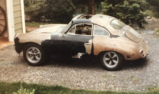 This is the 1960 Porsche 356B 1600 Super when it was purchased out of the weeds in 1981. The car started and ran well just adding gas and oil.