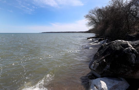 The water level in Lake Ontario has overlapped most of the Durand-Eastman beach.