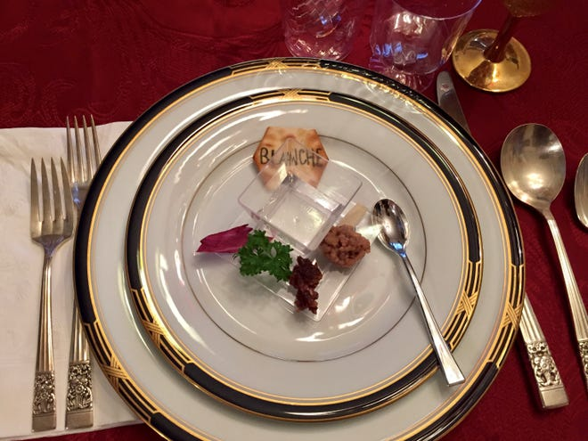 A Seder supper includes eating symbolic foods. This is a Seder plate from the Fenster family.
