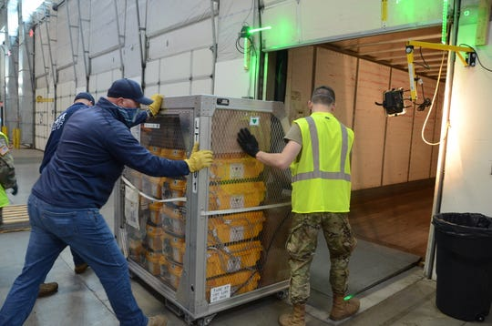 Oregon is sending its reserve stockpile of ventilators to New York to help with the COVID-19 pandemic. Crews loaded the 140 ventilators at the state's personal protective equipment warehouse in Wilsonville on Monday, April 6, 2020.