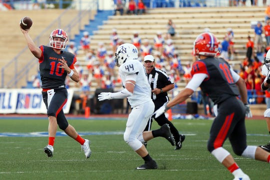 Central High School's Brennen Wooten throws on the run against Byron Nelson on Sept. 4, 2015, at San Angelo Stadium.