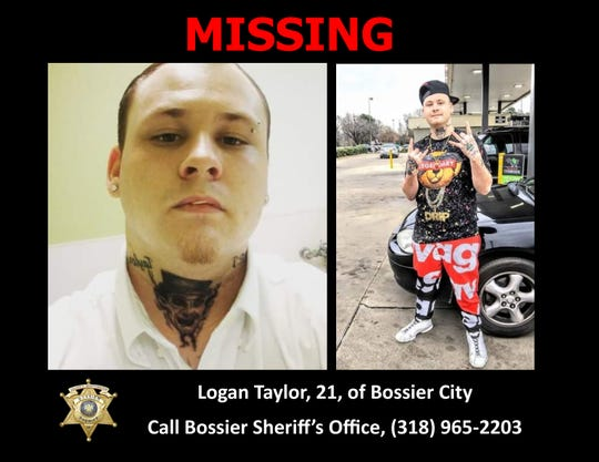 The Bossier Parish Sheriff's Office is asking for help in locating missing 21-year-old Logan Taylor, of Bossier City.