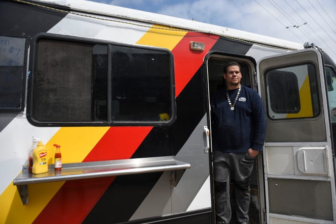 Lawrence West serves Lakota-style food out of his newly opened food truck, Watecha Bowl, on Monday, April 6, 2020 in Sioux Falls, S.D. Many of the recipes he uses are passed down from his family. He says a lot of people grew up in his mom's kitchen, eating the same recipes he cooks today.