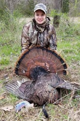 Haleigh Fike, age 14, of Harrisburg was among young hunters who harvested their first turkey during last weekend's youth turkey hunting. She took the 22.1-pound adult gobbler during an MDC managed youth hunt at the Green Conservation Area in Boone County. It had a 10.5-inch beard.